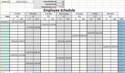 Work Schedule Template 4 Work Schedule Template Excel Teknoswitch