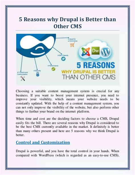 5 Reasons Why Drupal Is Better Than Other Cms