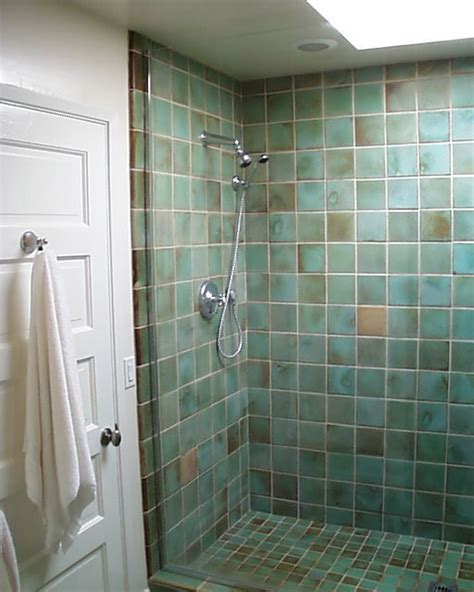 tiled shower stalls create distinctive and stylish shower