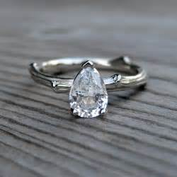 white sapphire engagement ring pear shaped white sapphire engagement ring onewed