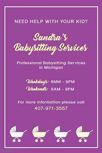 Purple Babysitter Poster Template