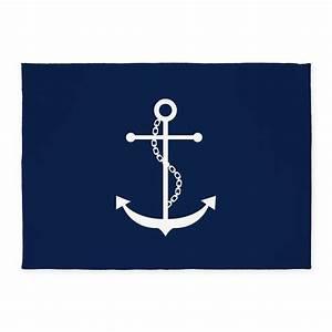 Navy Blue Anchor 5'x7'Area Rug by mcornwallshop