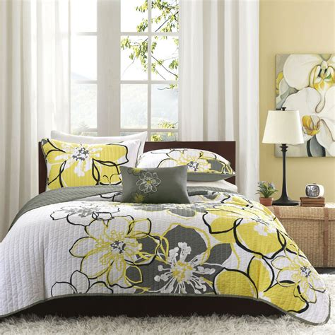 Yellow Quilted Coverlet by Beautiful Modern Chic Grey Yellow White Floral Flower
