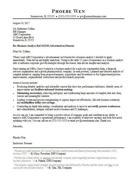business analyst cover letter sample monstercom
