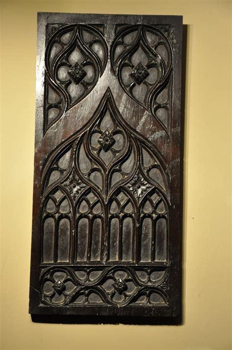 fine late  century walnut gothic tracery panel