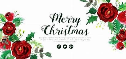 Merry Christmas Banner Watercolor Floral Vector Premium