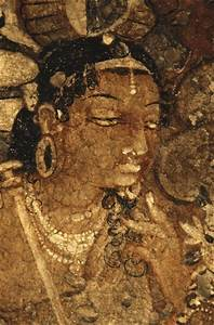 INDIA. Ajanta. Ajanta Caves. Face of a woman. Detail in ...