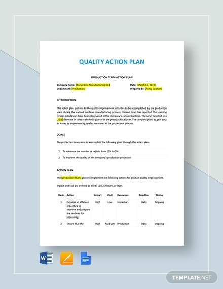quality action plan template   plans