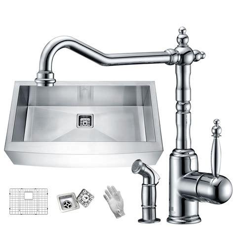 satin finish stainless steel kitchen sinks anzzi elysian farmhouse stainless steel 32 in single bowl 9270