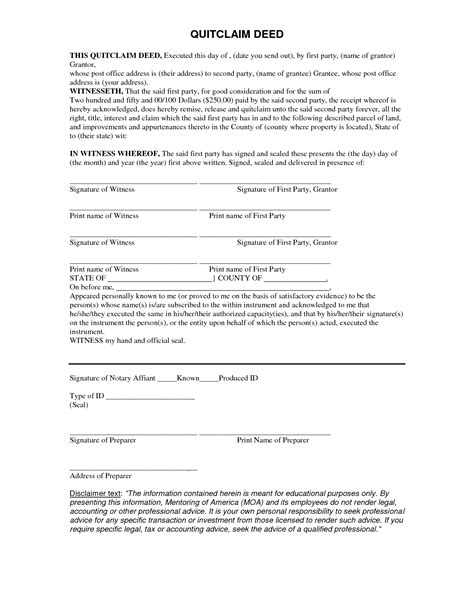 quit claim deed form quit form real state real