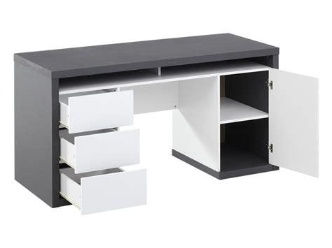 bureau des stages 5 bureau igor ii 3 tiroirs 1 porte 1 niche blanc gris