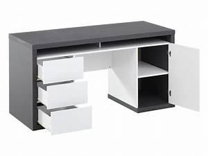 Bureau bicolore blanc et gris avec rangements IGOR II