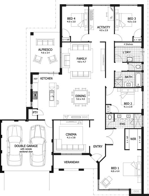 4 bedroom house plans 1 4 bedroom single house plans modern house