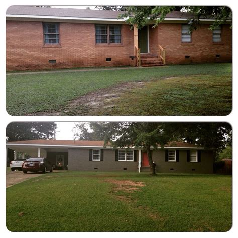 Before and after pic painted this ranch repose gray by. Before and After pic! Painted brick project | Painted brick house, Brick projects, Painted brick