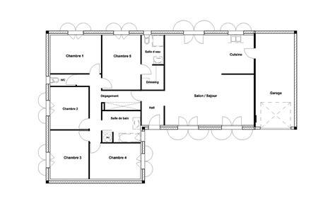 plan maison 4 chambres plain pied plan maison plain pied 2 chambres plan au sol plan de