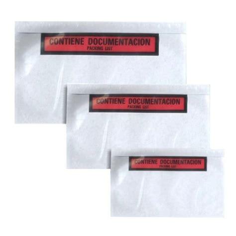 Sobre con cara adhesivo para documentación para pegar en ...