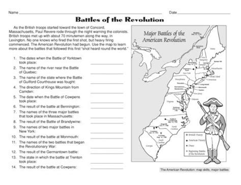 revolutionary war for worksheets free battles of the american revolution worksheet