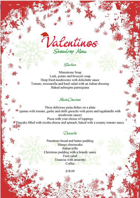 christmas valentinos menu page template   docx psd