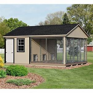 12 x 18 ft amish made large 3 run dog kennel with feed room for Dog house boarding kennels