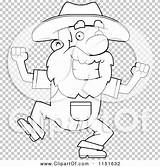 Prospector Dancing Coloring Happy Outlined Clipart Vector Cartoon Clip Thoman Cory sketch template