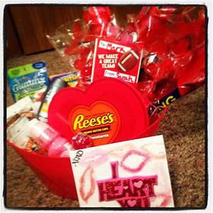 """DIY """"man basket"""" great Valentine's Day gift! Fill with his ..."""