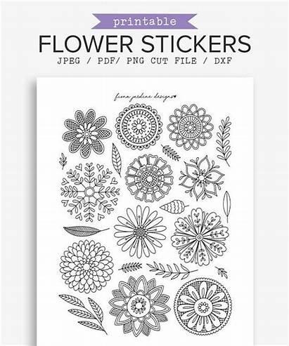 Journal Bullet Stickers Printable Flower Coloring Doodles