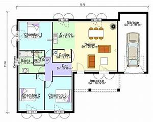 plan maison contemporaine plain pied en l 3 chambres et With maison de 100m2 plan 15 modale de construction traditionnelle de 90m2 de plain