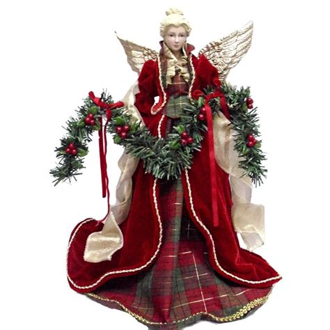 Christmas Tree Toppers Angels by Shop Holiday Living 16 25 In Fabric Angel Red And Gold
