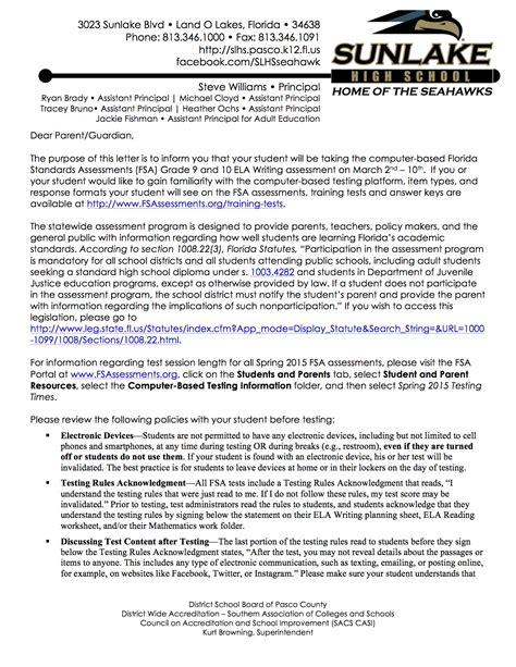 florida standards assessments grade ela writing parent letter