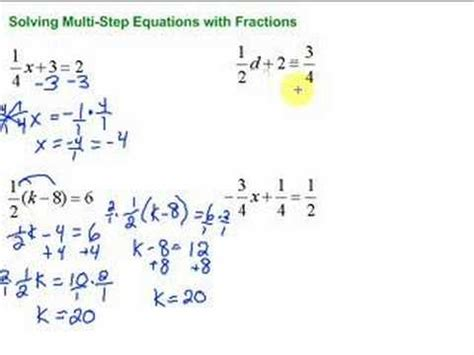 Lesson 73 Solving Multistep Equations With Fractions Youtube