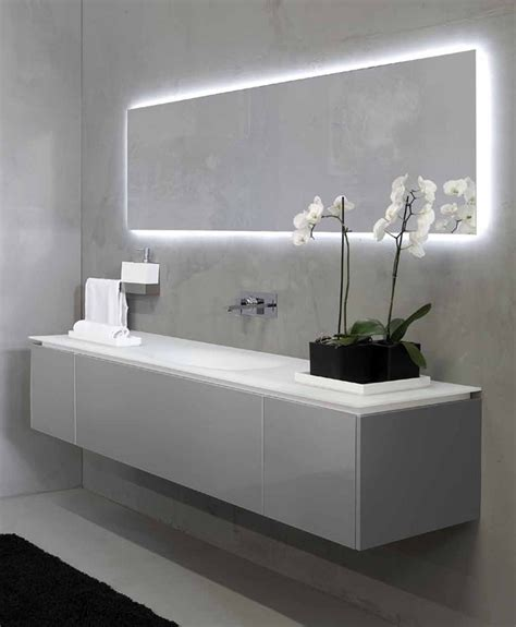 Modern Bathroom Mirrors With Lights by Modern Bathroom Mirror And Sink The Back Lighting On