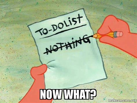 Now What Meme - now what to do list make a meme