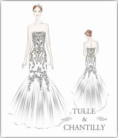 Tulle Lace Sketches Mermaid Gown Embroidery Drawing
