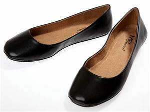 Womens Black Ballet Flats Ballerina Casual Slip On Shoes ...