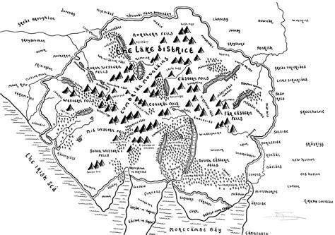lake district national park bespoke hand drawn map