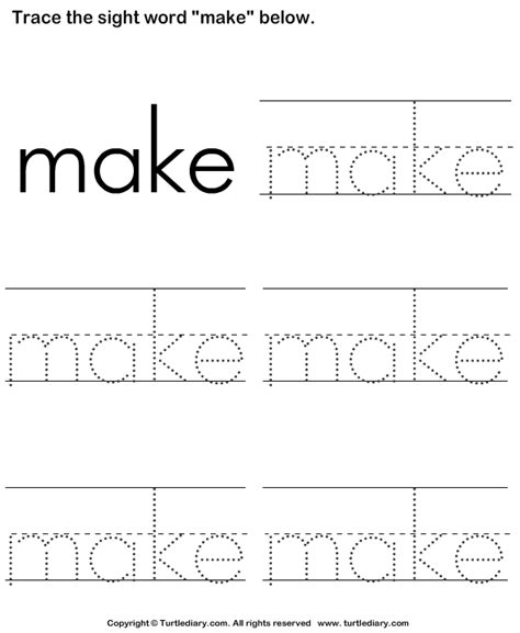 sight word make tracing sheet worksheet turtle diary