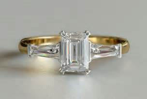 yellow gold emerald cut 3 engagement ring new zealand - Gold Emerald Cut Engagement Rings