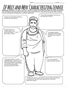 Of Mice And Men Characterization Activity  Ch 1 Worksheets By The Green Light