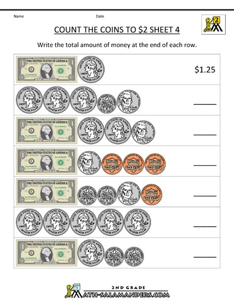 free money worksheets count the coins to 2 dollars 4 2nd