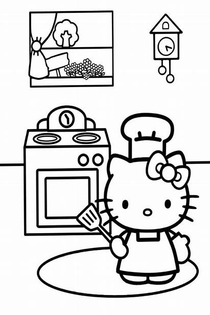 Coloring Kitchen Pages Kitty Cooking Hello Colouring