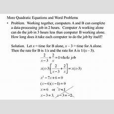 Quadratic Word Problems Worksheet Homeschooldressagecom