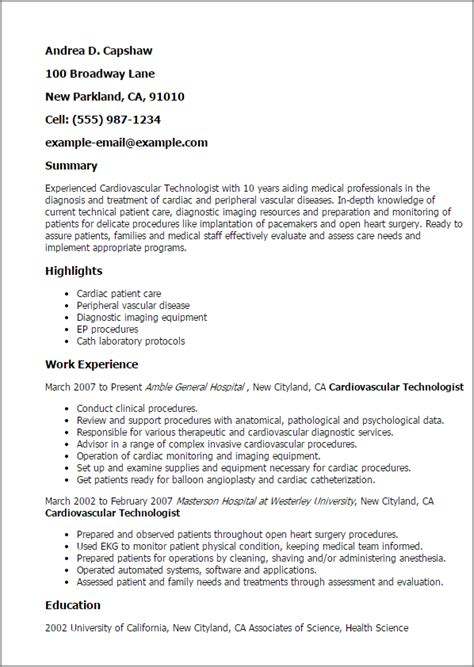professional cardiovascular technologist templates to