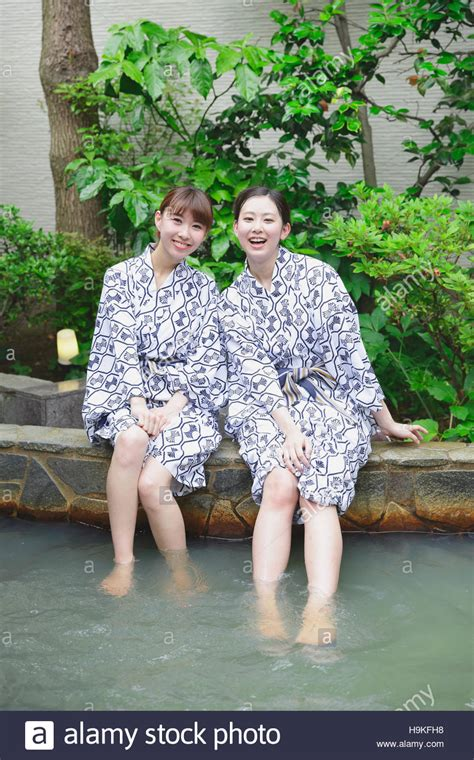 Young Japanese Women Bathing At Traditional Onsen Hot Spring Stock Photo Alamy