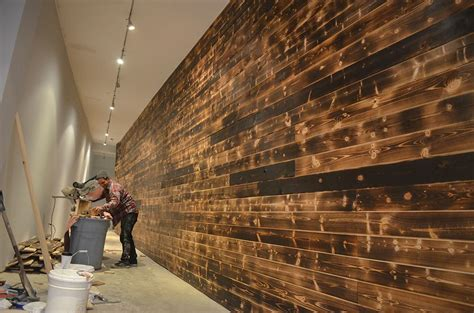 shou sugi ban feature wall black rabbit woodworking