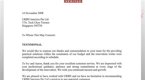 urbn interiors pte ltd letters of apprecation from clients