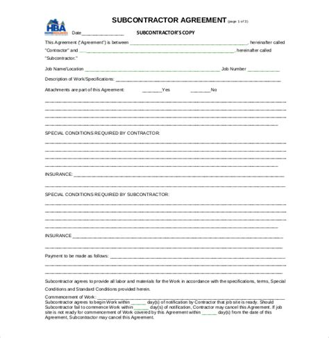 subcontractor agreement template subcontractor contract