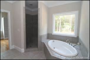 Gray and White Tile Tub Surround