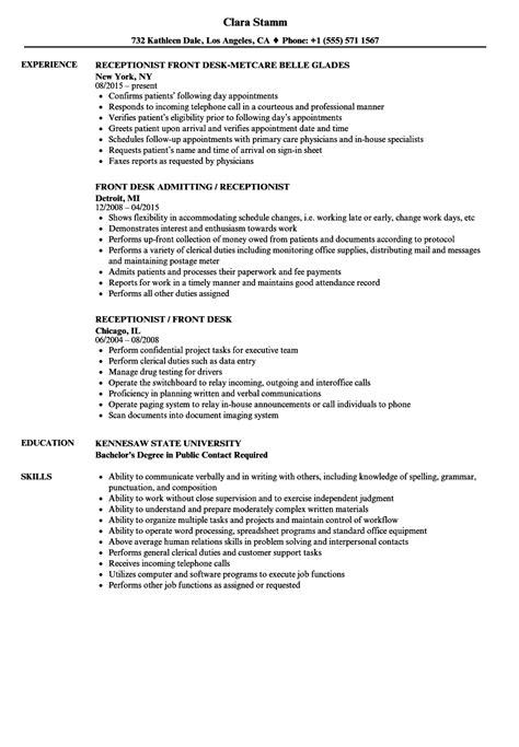 Desk Receptionist Resume Samples   Velvet Jobs