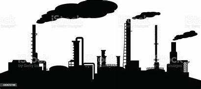 Silhouette Refinery Industry Vector Oil Illustration Smoke