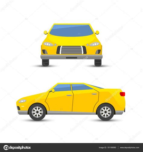 Flat Yellow Car Vehicle Type Design Style Vector Generic